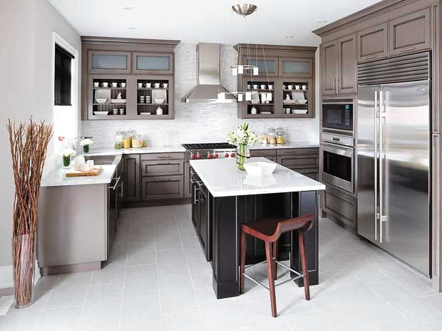 Yes You Can Mix Grey And Brown As Seen In The Kitchen Cabinetry - Grey colored kitchens