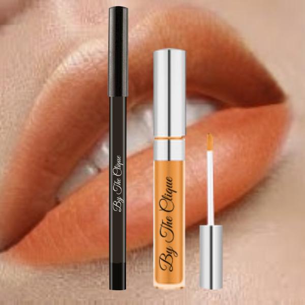 Matte Liquid Lipstick and Lip Liner Pencil Set 24k Gold
