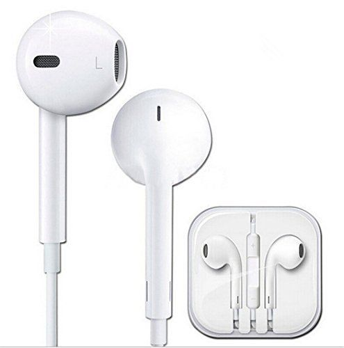 the best attitude 34166 e6f5b Earphones With Mic   Remote Control Earpods Earbuds Headphone  For iPhone,  iPad, iPad Air, iPods With Adpater (White)