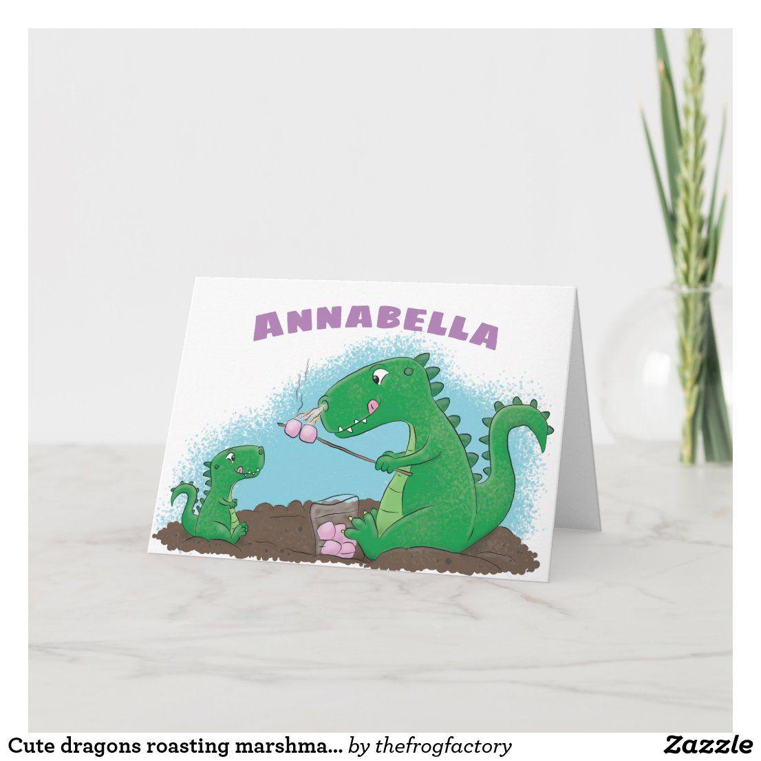 Cute Dragons Roasting Marshmallows Cartoon Card In 2020 Cute Dragons Marshmallow Cute