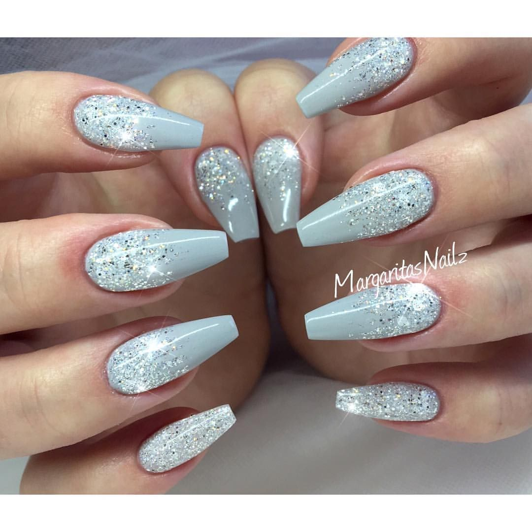 Grey Glitter Ombre Coffin Nails Winter Nails Acrylic Silver Nails Christmas Nails Acrylic