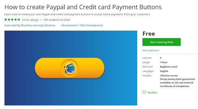 How to create Paypal and Credit card Payment Buttons (Free) | Coupon for Course