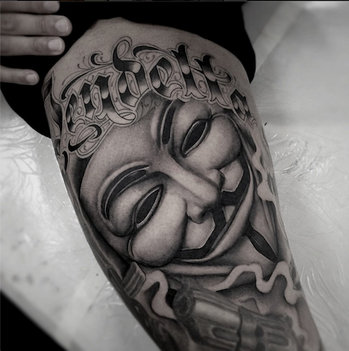 Tattoo Designs Vendetta: We Bet This Client Really Loves V For Vendetta. Tattoo By