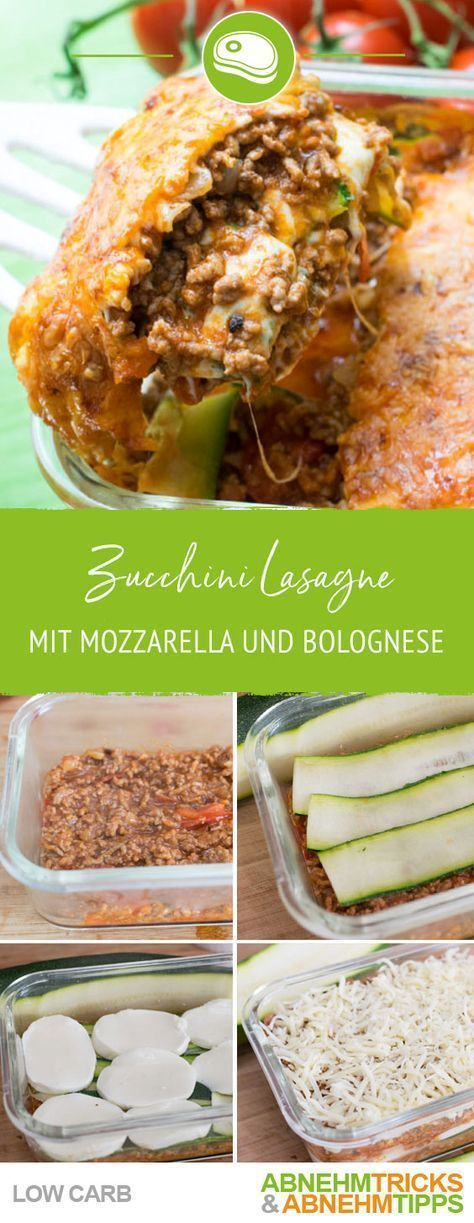 Low Carb Zucchini Lasagne mit Mozzarella und Bolognese   - Gesunde Rezepte -