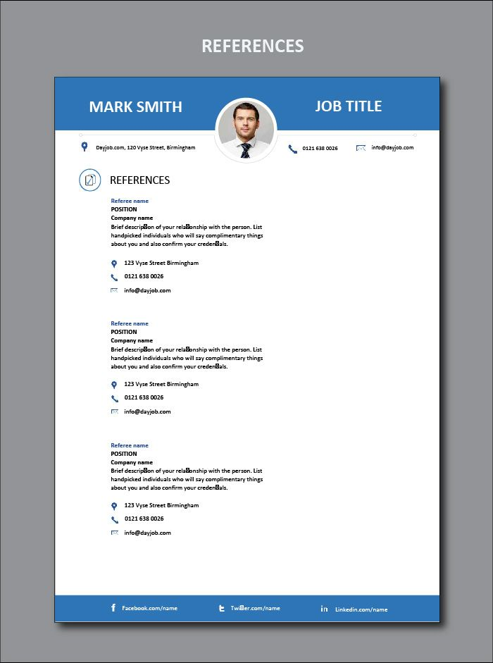 resume references contact information