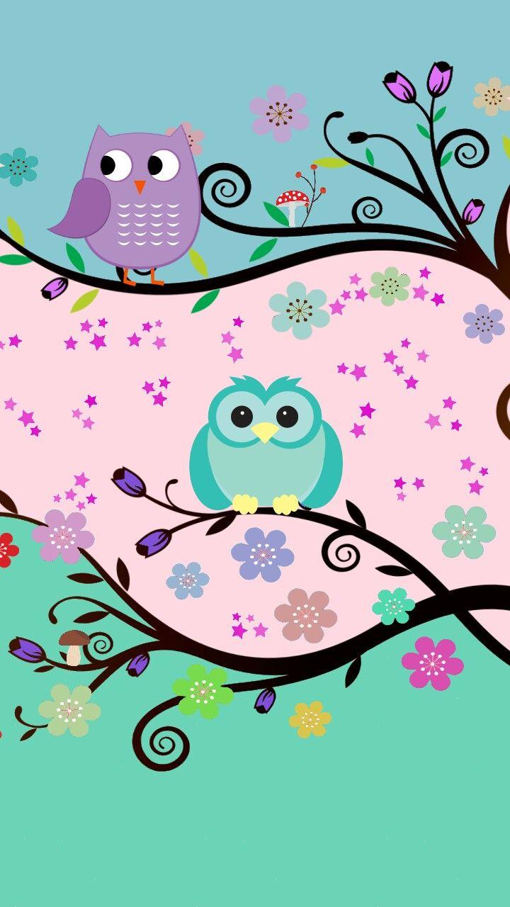 Owl motif phone wallpaper, 720x1280. Papel de parede