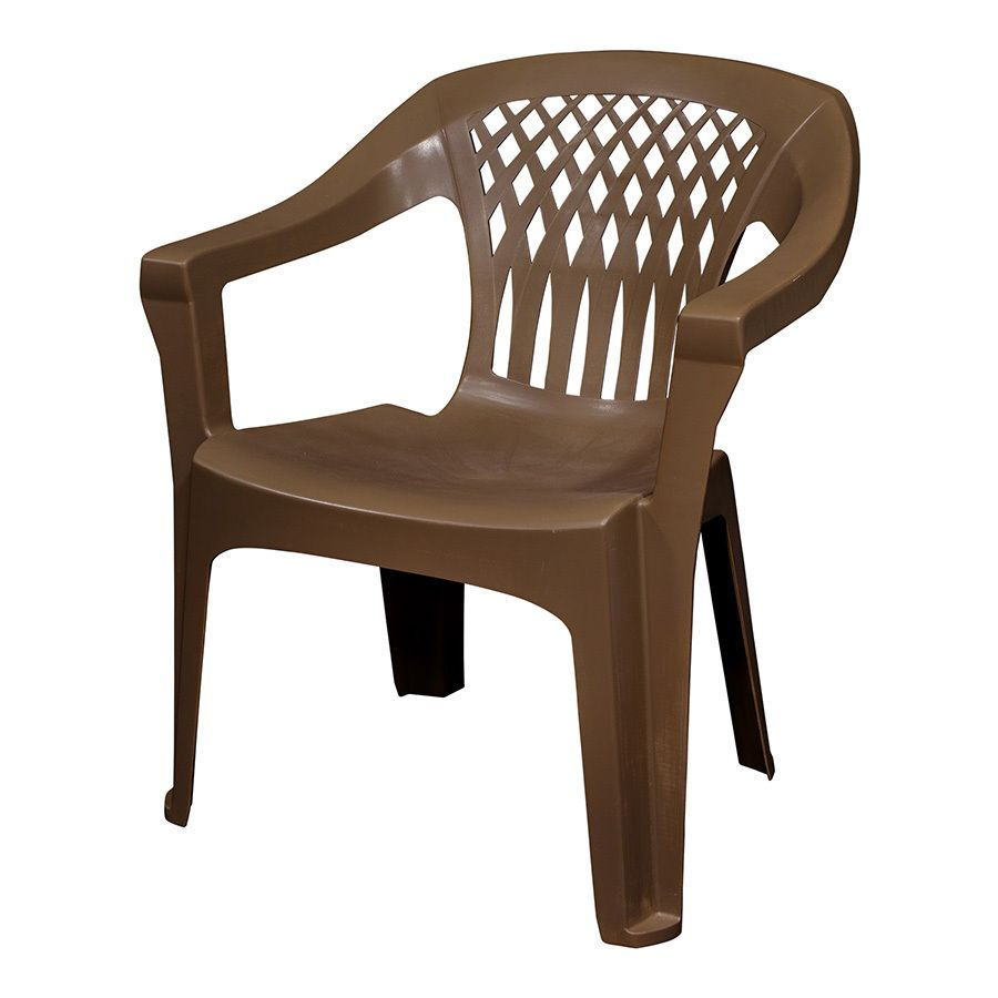 Adams Mfg Corp Earth Brown Resin Stackable Patio Dining Chair