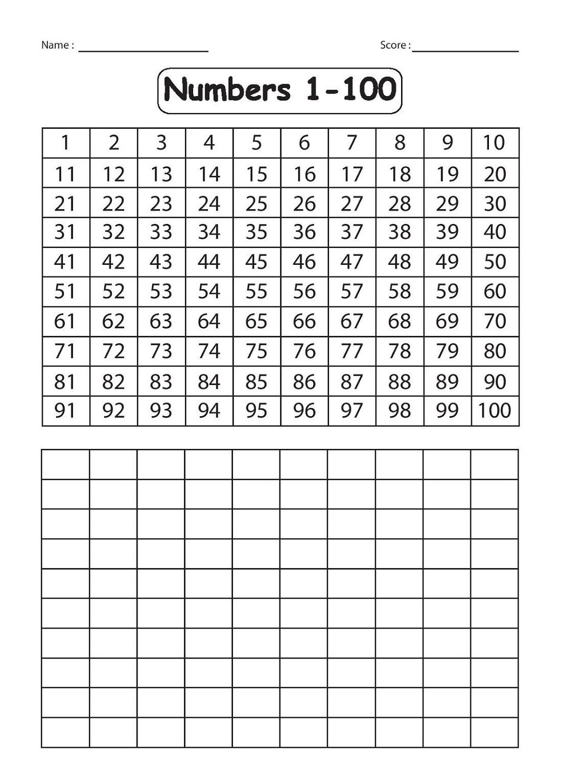 Printable Number Sheets 1 100 In