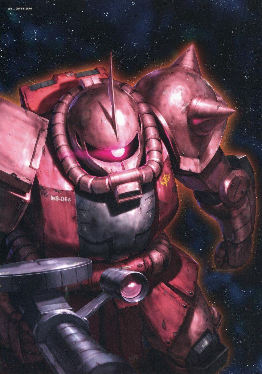 Ms 06s Zaku Ii Commander Type Gundam Gundam Wallpapers Gundam Art