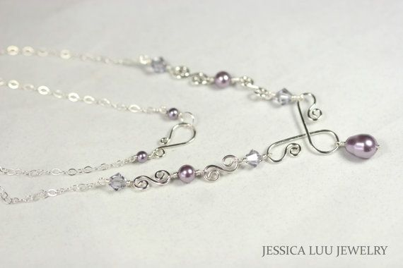 Purple Pearl and Crystal Necklace Wire by JessicaLuuJewelry