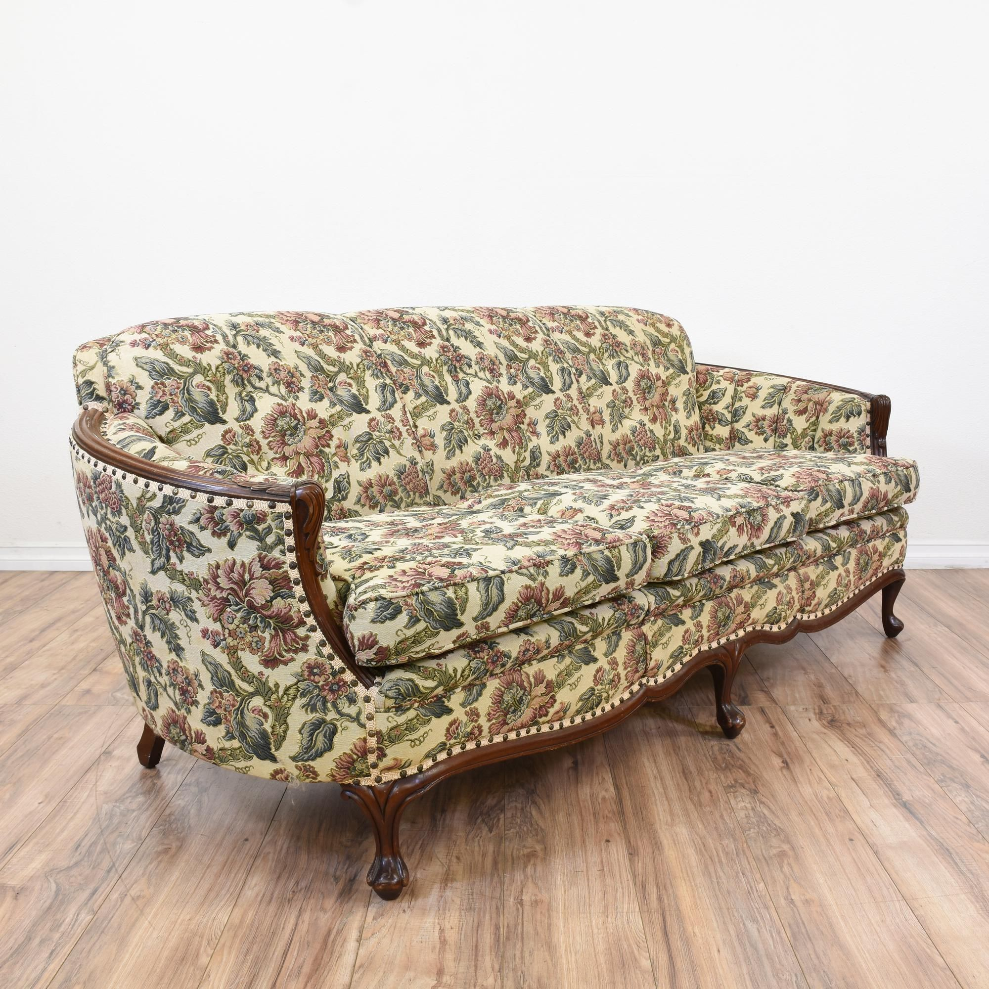 French Floral Tufted Sofa
