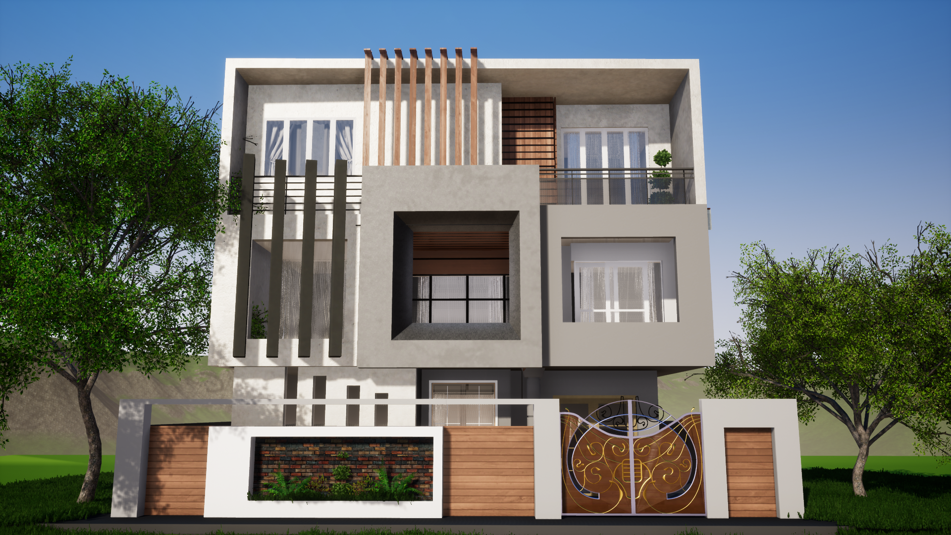 8b0d30644c4aa3e4ed5a378f0d2c2393 - 18+ Modern Small House Compound Wall Design Background