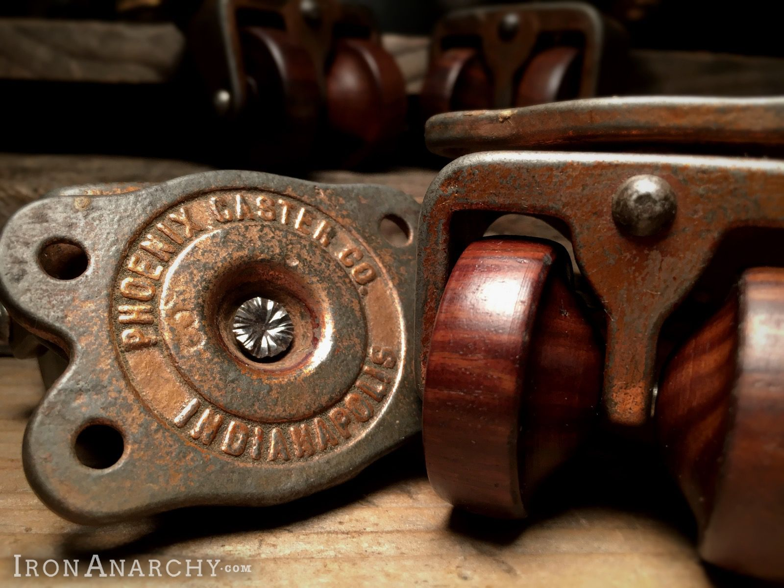 Refurbished Antique Wood Wheel Furniture Casters From IronAnarchy.com