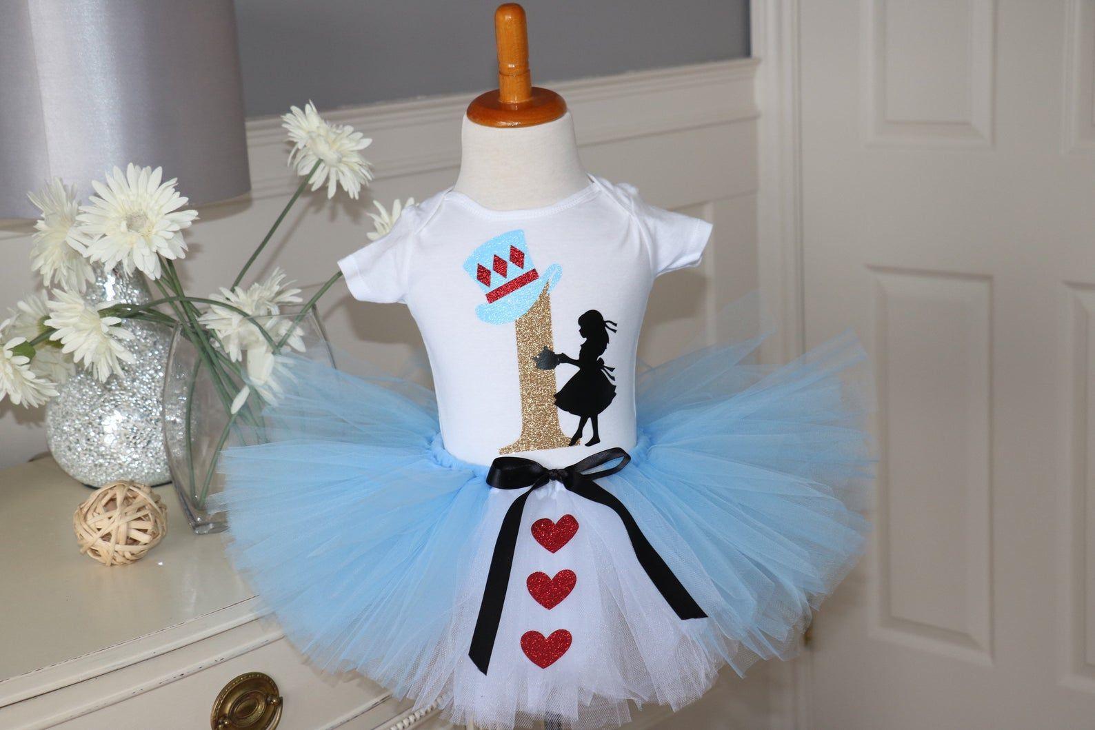 birthday crown and tutu Halloween Alice in wonderland tutu outfit wonderland Alice in Onederland first birthday Alice tutu