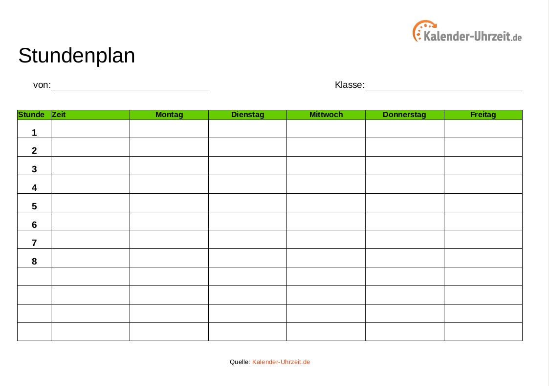 Stundenplan als PDF und Excel - grün http://www.kalender-uhrzeit.de/stundenplaene #KalUhr