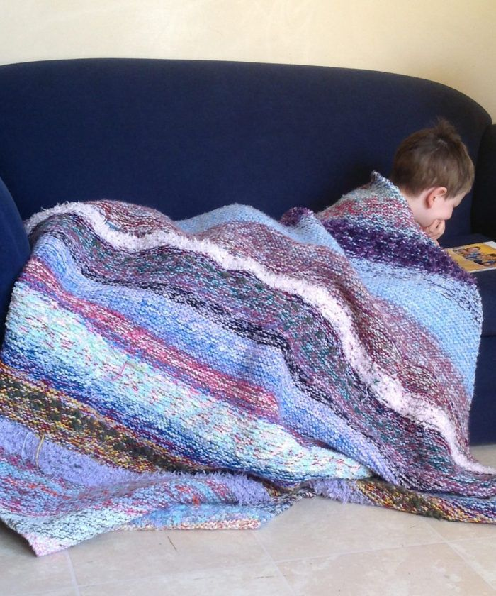 Free knitting pattern for Sediment Scraps Blanket - This afghan is ...