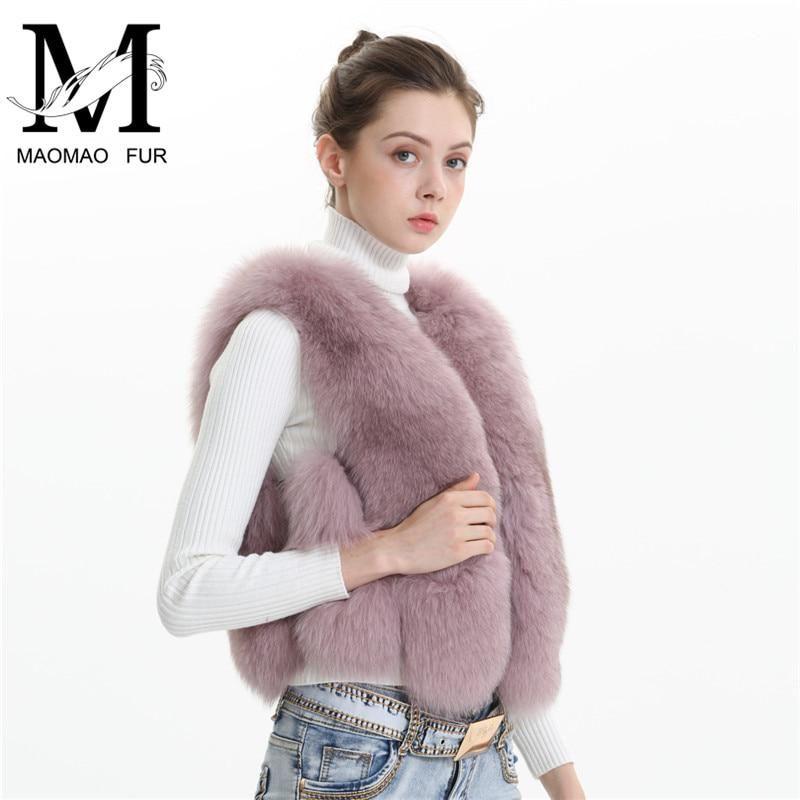 New Fox Fur Womens Gilet Thicken Winter Warm Coat Jacket Vest Waistcoat Outwear