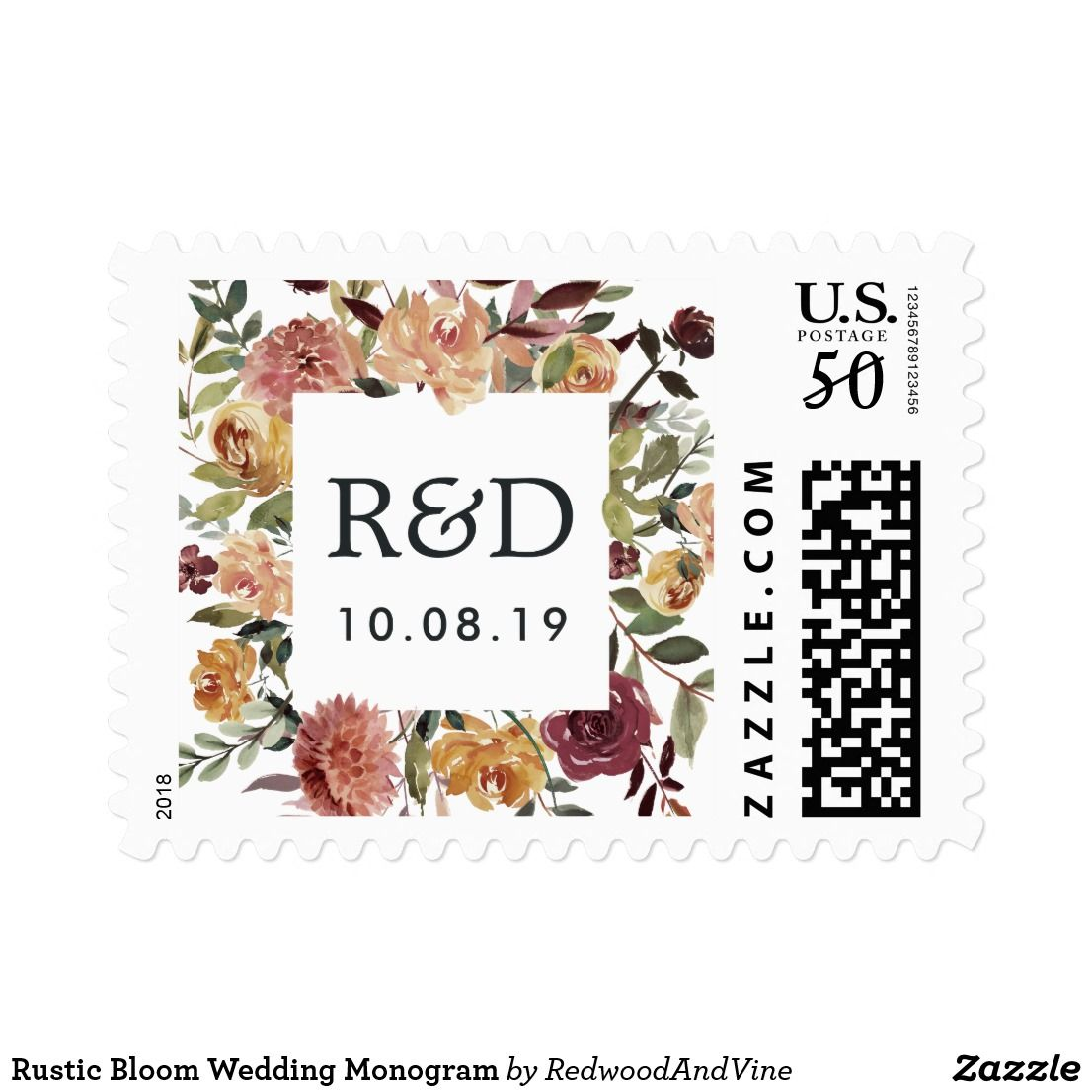 Rustic Bloom Wedding Monogram Postage Wedding Monograms Wedding