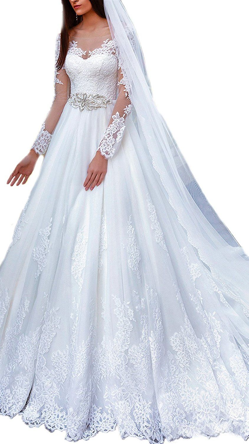 Drehouse womenus vintage lace long sleeve wedding dresses with court