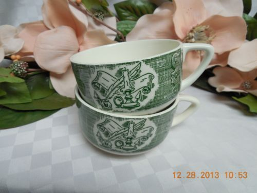 Royal, USA, China dinnerware The Old Curiosity shop, Green, set 2 cup(s)