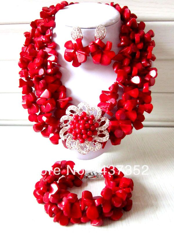 African Nigerian Wedding Red Coral Beads Jewelry Sets Fashion ...