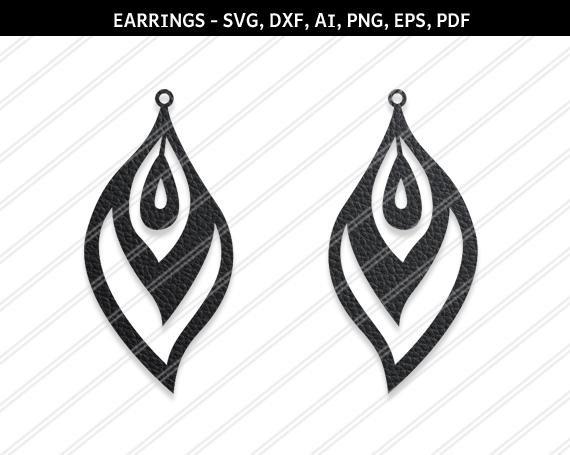 Paon plume boucles d'oreilles SVG, boucles d'oreilles