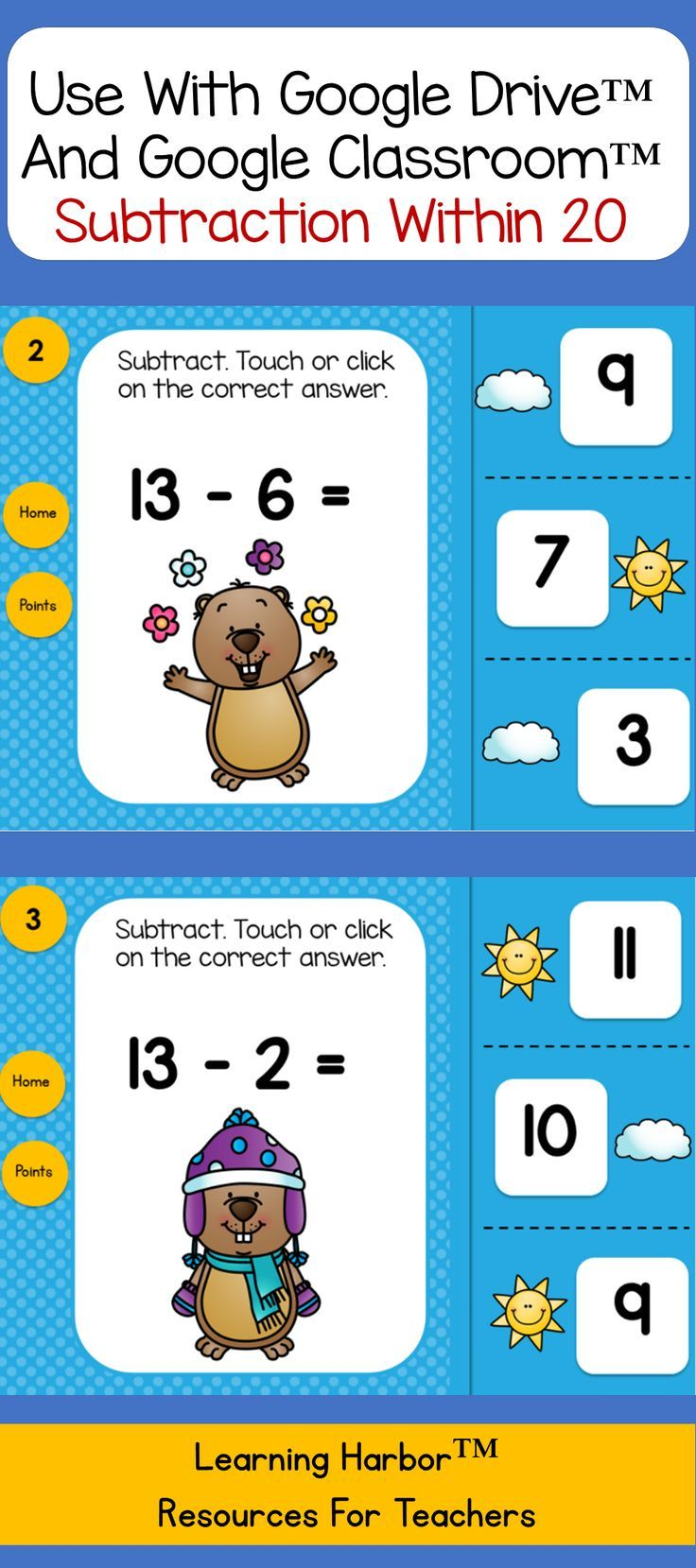 Subtraction Within 20 Groundhog Day | Math facts, Math and Activities