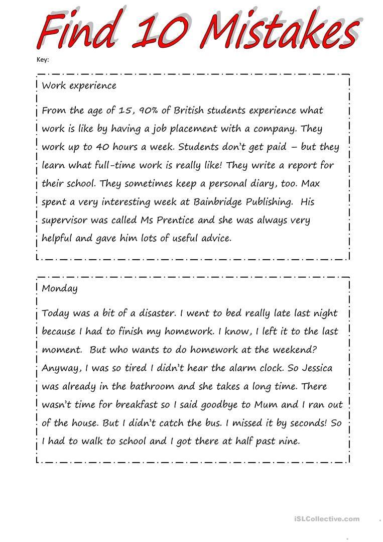 Find 10 Mistakes 2 Pages Task 2 Pages Key Worksheet Free Esl Printable Worksheets Mad Teaching English Grammar English Grammar Worksheets English Grammar [ 1079 x 763 Pixel ]