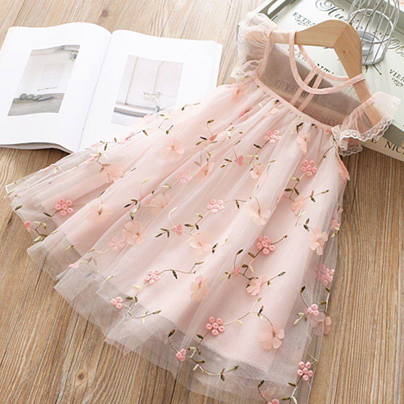 Summer Girl Clothes Kids Floral Dresses For Girls Lace Flower Dress Baby Girl Party Wedding Dress Children Girl Princess Dress