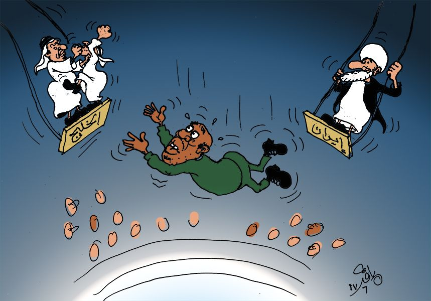 كاركاتير اليوم الموافق 14 يونيو 2017 للفنان الباقر موسى عن  أزمة الخليج.السودان قطر