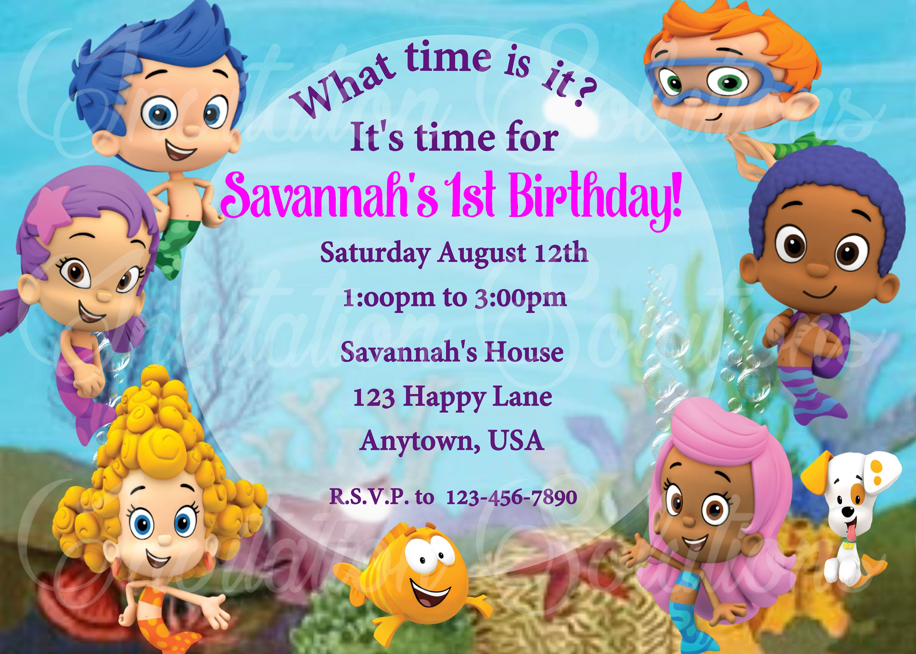 Bubble Guppies Birthday Party Invitation Little Mermaids Party