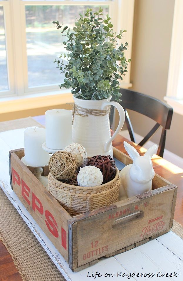Spring decor life on kaydeross creek dining room diy for Small kitchen table centerpiece ideas
