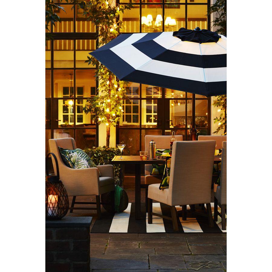 Allen Roth Black And White Stripe Market 9 Ft Patio Umbrella At