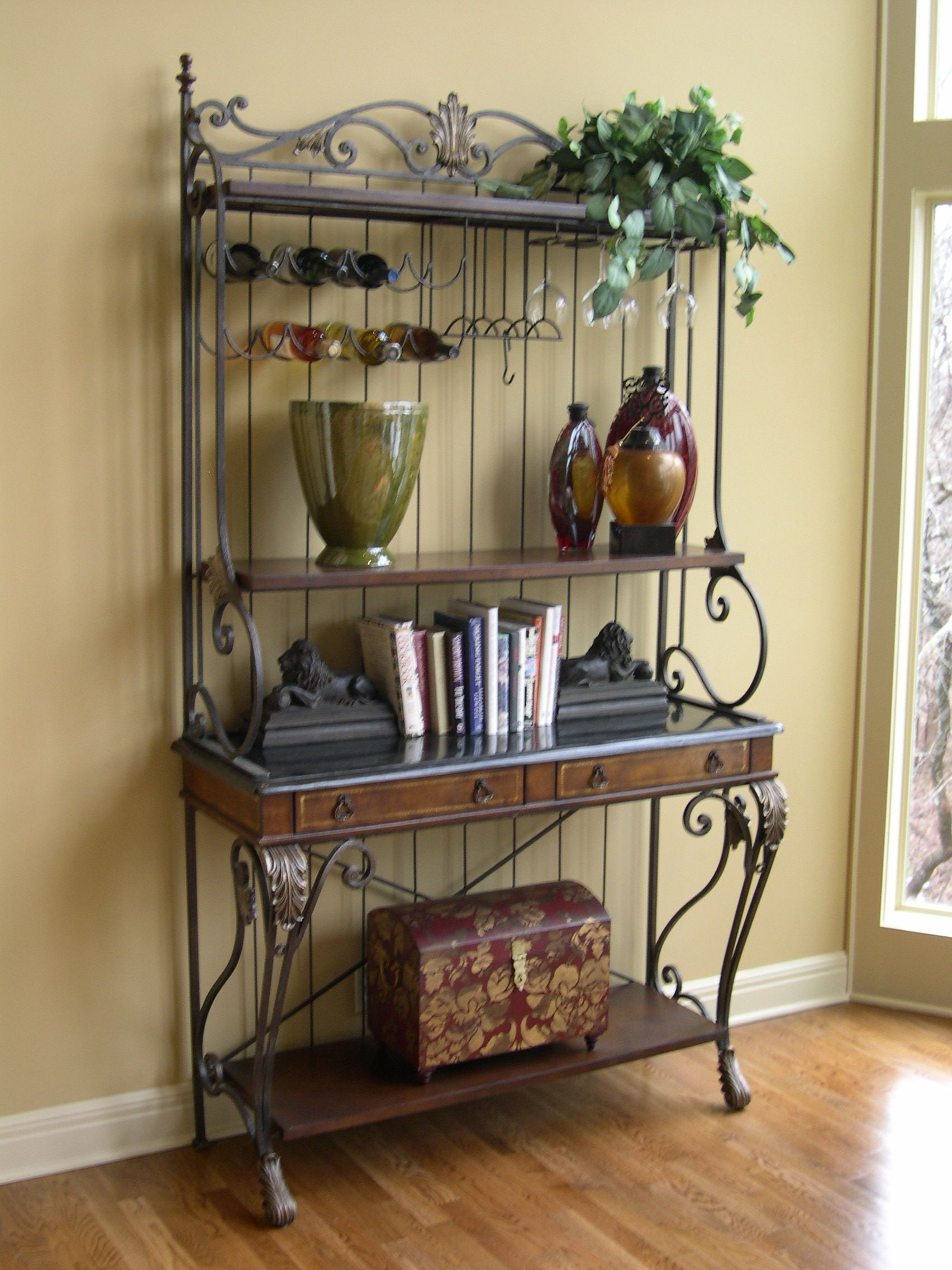 bakers rack with storage cabinets title a wrought iron baker s
