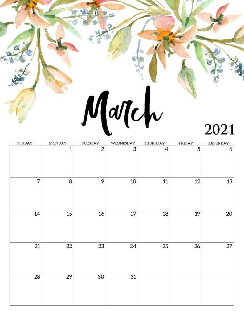 Beautiful March 2021 Calendar in 2020   Calendar ...