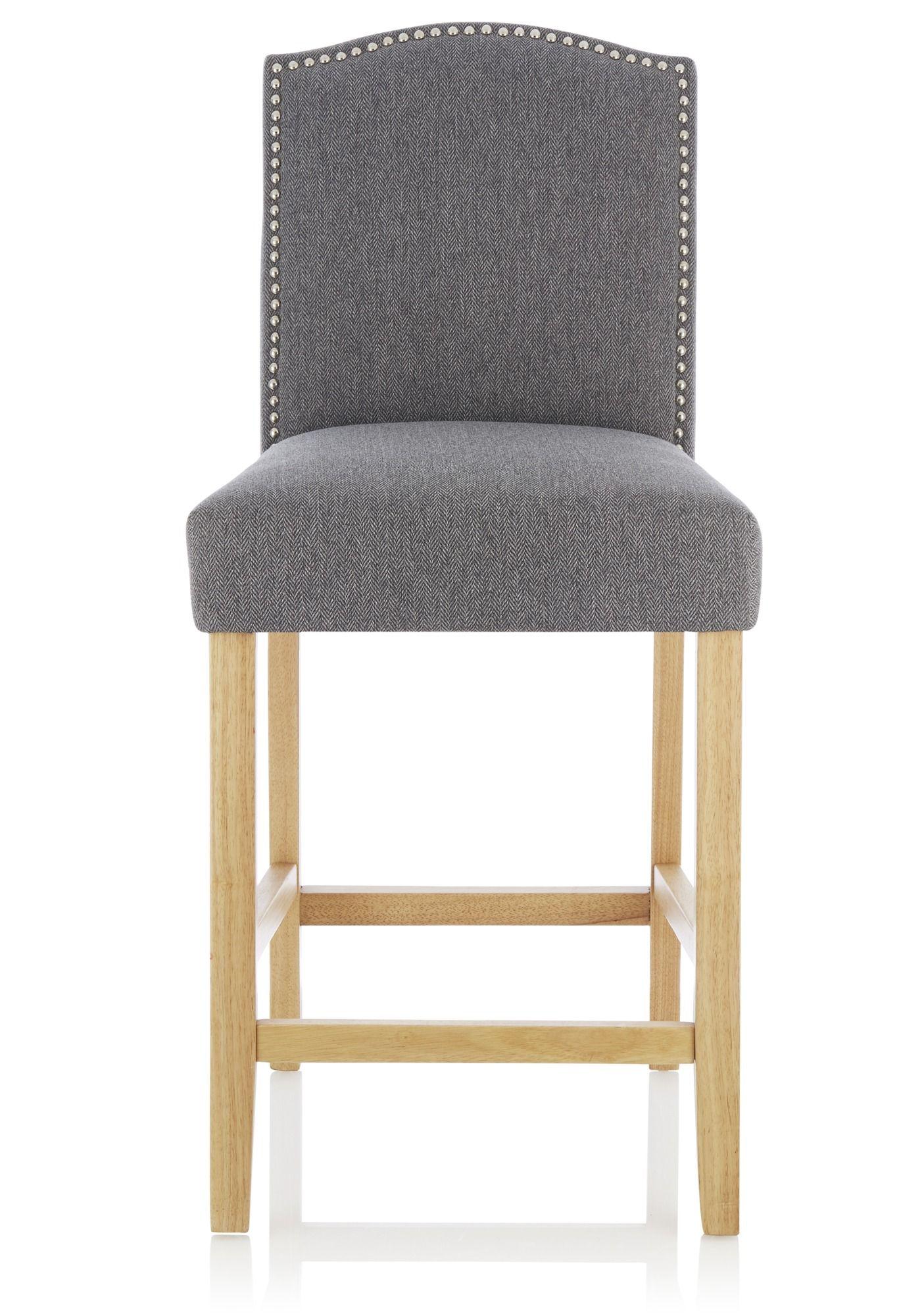 Alice Oak and Grey Herringbone Fabric Bar stool  BAR STOOLS