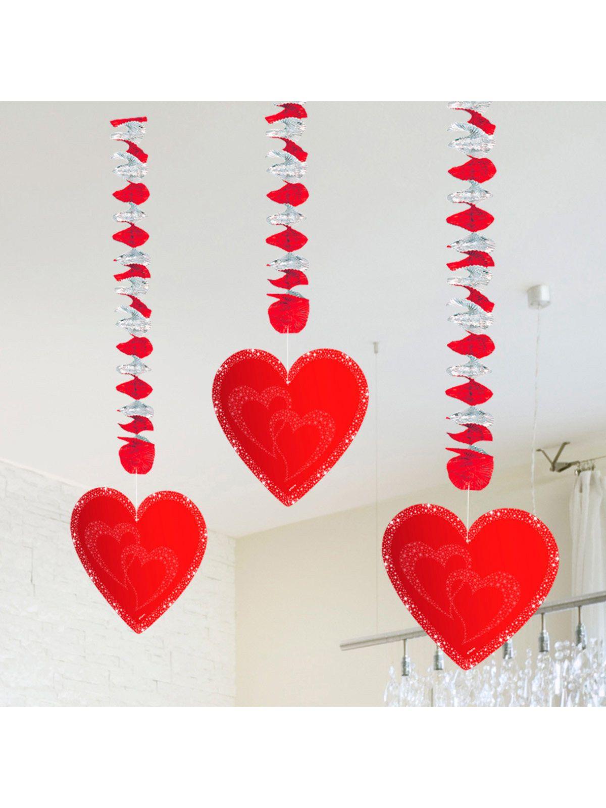 Hochzeit Hänge Spiralen Mit Herzen Valentinstag Party Deko 3 Stück Rot  75x18cm. Überrascht