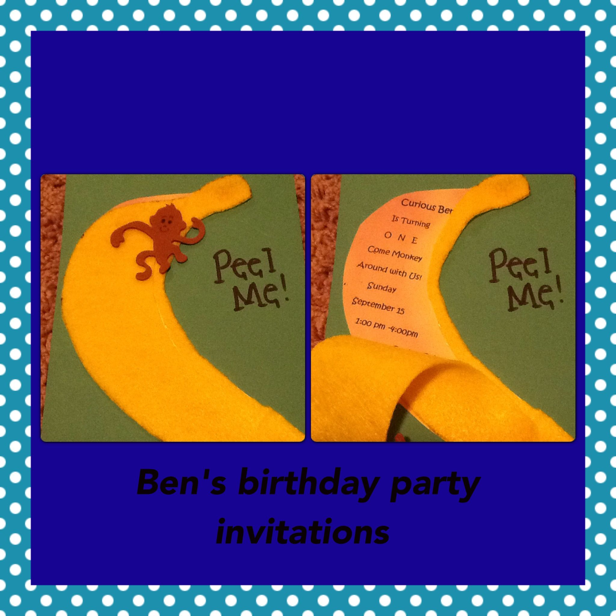Took 5x7 Card Stock Printed Out A Banana With Birthday Details And