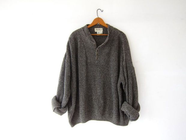 vintage speckled henley sweater. loose knit sweater. black   cream ...
