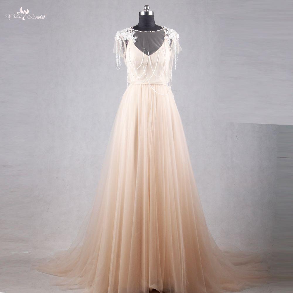 Rsw champagne backless vestidos de novia bohemio boho