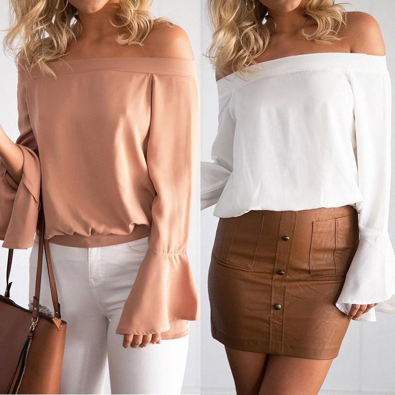 ea0beda26b177 2018 Mujer Sexy Sin Hombros Chifón Blusa Vintage Casual Top Camiseta Verano  Primavera