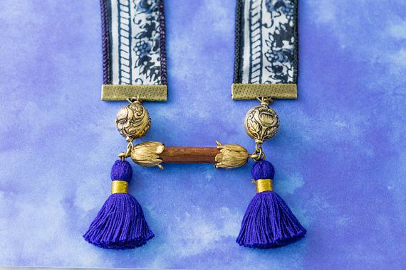 Blue Recycled Sari Ribbon Necklace with Royal Blue Tassels and