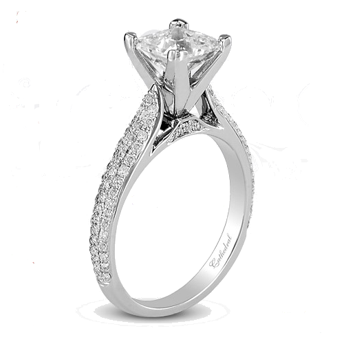Cathedral Micropave Semi Mount Engagement Ring For Sale Dallas Motek Diamonds
