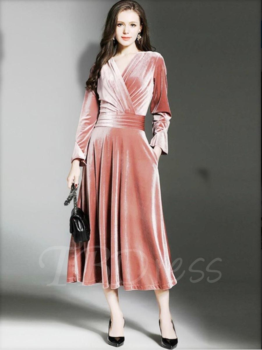 Velvet plain long sleeve womenus maxi dress a fasion temp