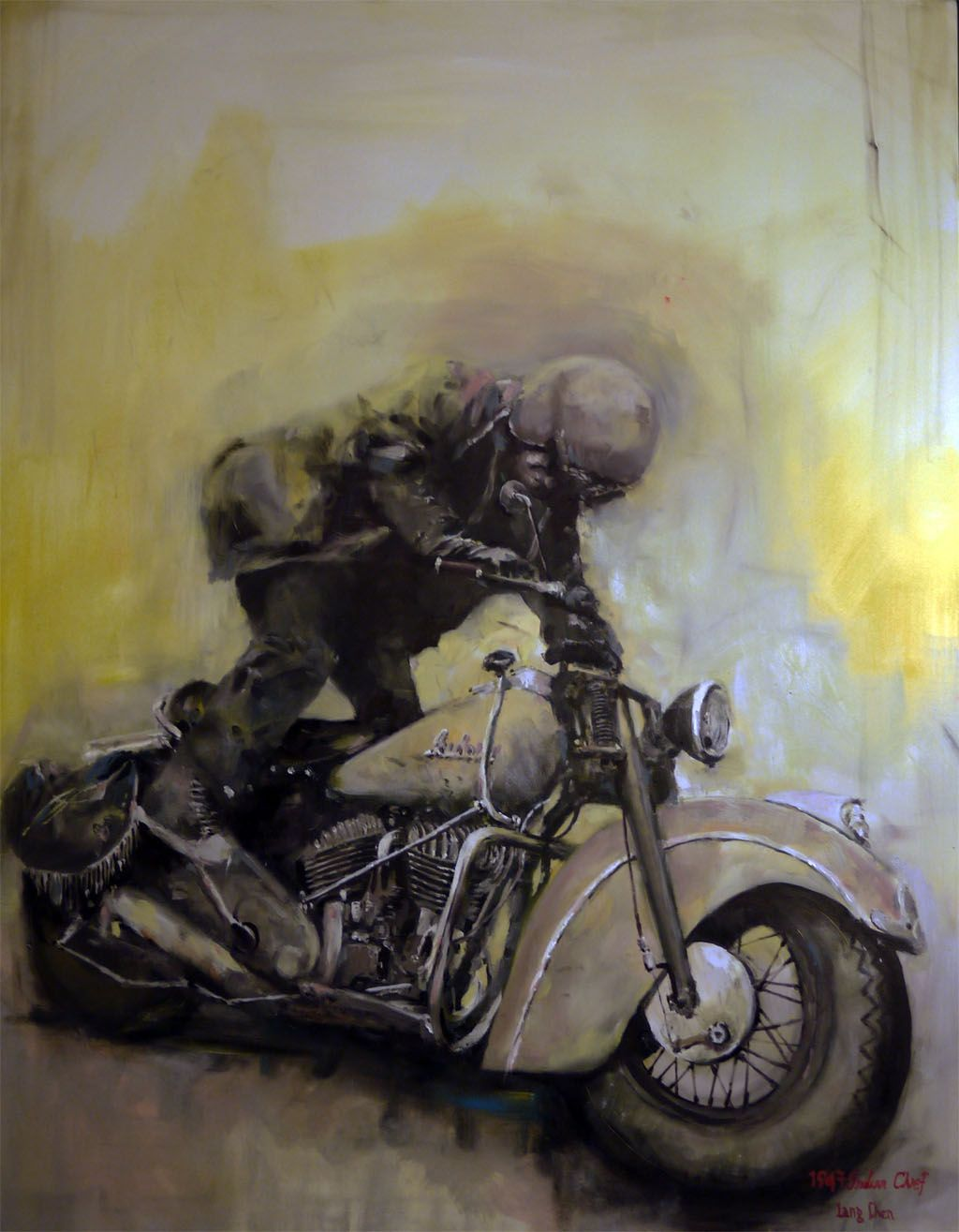 1947 Indian Chief Motorcycle Kick Start 2010 . Oil Paint