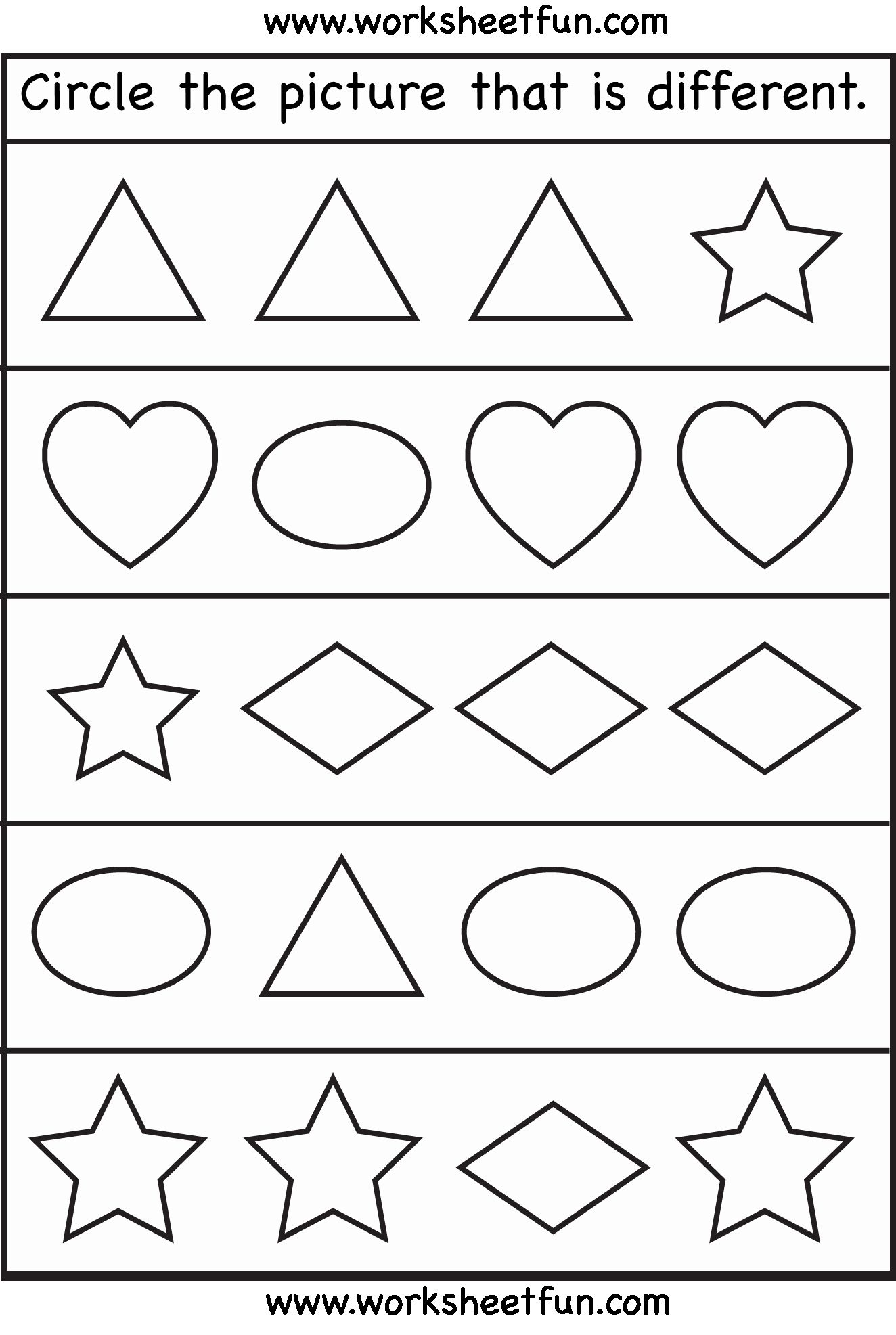 Same Or Different Worksheets Preschool In