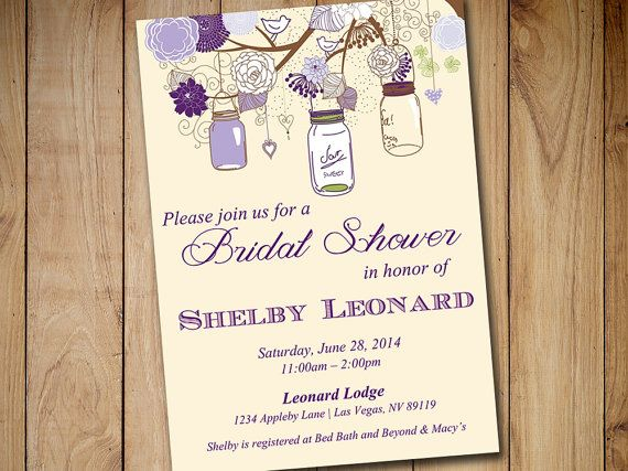 Rustic Bridal Shower Invitation Template  Mason Jar Wedding