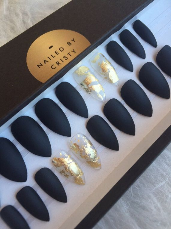 Matte black press on nails with gold foil accent nails any shape matte black press on nails with gold foil accent nails any shape nail art prinsesfo Image collections