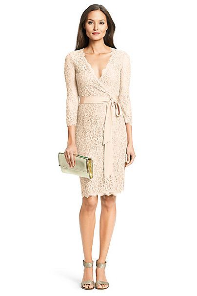 Dvf Julianna Lace Wrap Dress In Heaven