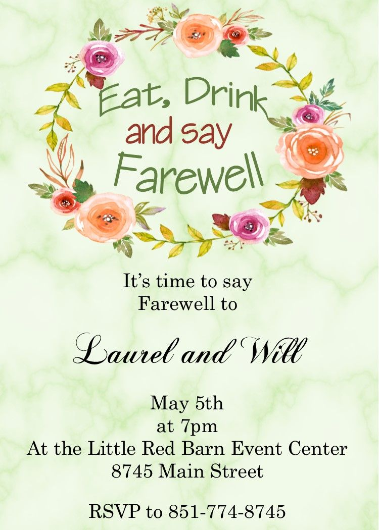 Going Away Party Invitations Flowers On Marrble Going Away Party Invitations Party Invite Template Sip And See Invitations